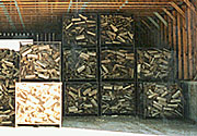 Baskets full of wood in the cooling shed.